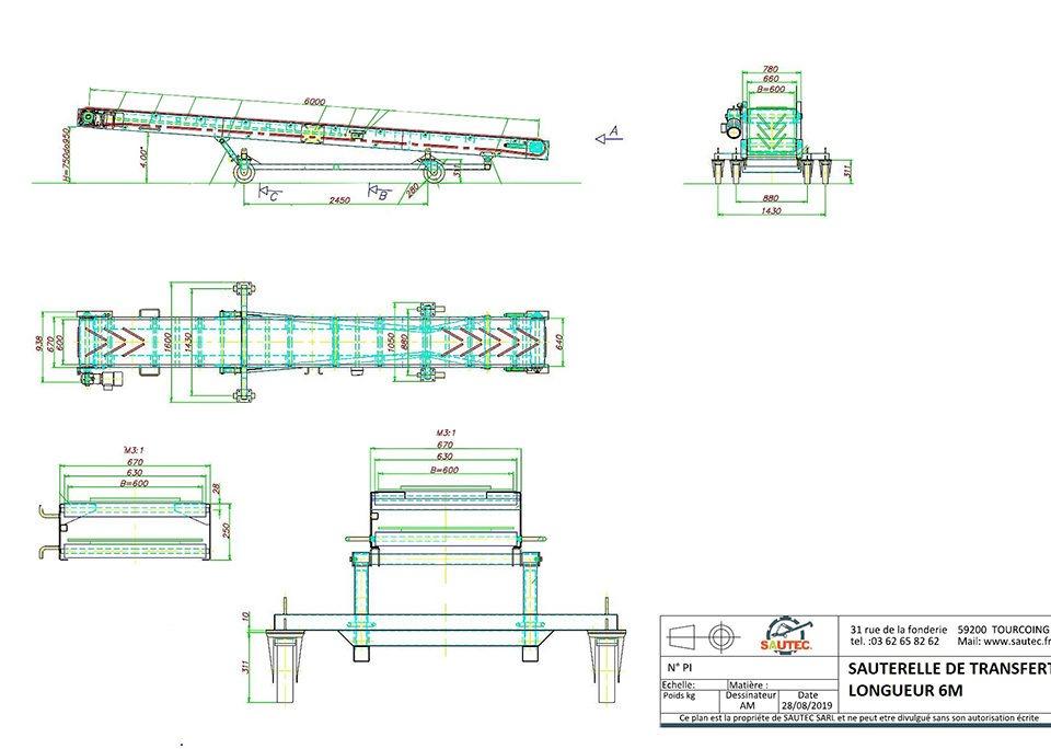 plan d'une sauterelle de transfert