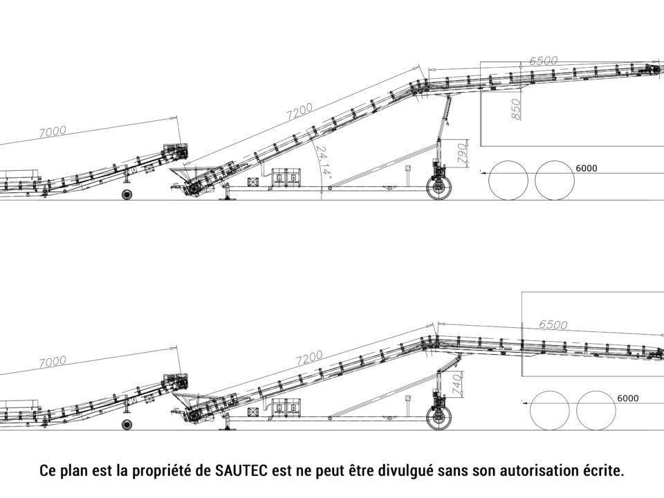 Plan d'une sauterelle de chargement pour conteneur